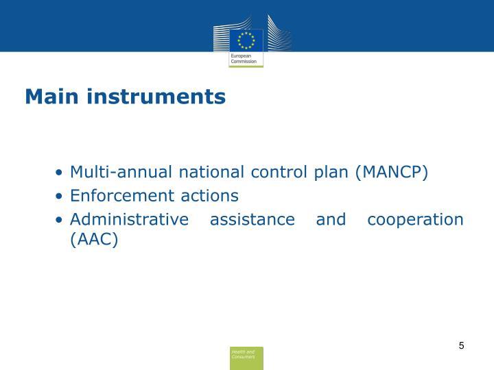 Main instruments