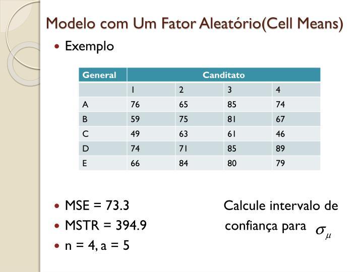 Modelo com Um Fator Aleatório(