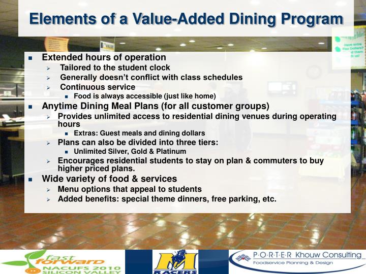 Elements of a Value-Added Dining Program