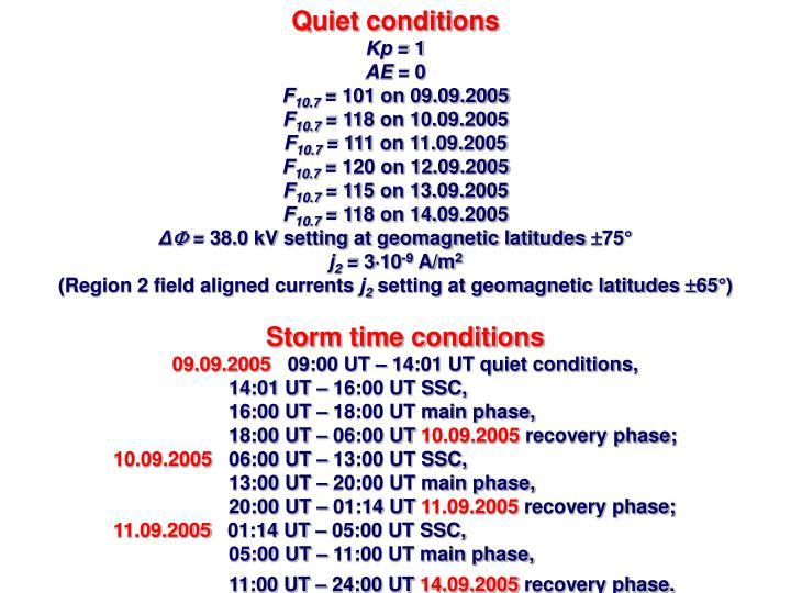 Quiet conditions