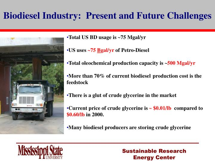 Biodiesel Industry:  Present and Future Challenges