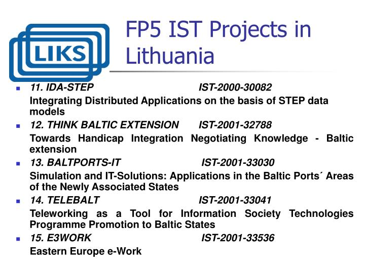 FP5 IST Projects in Lithuania