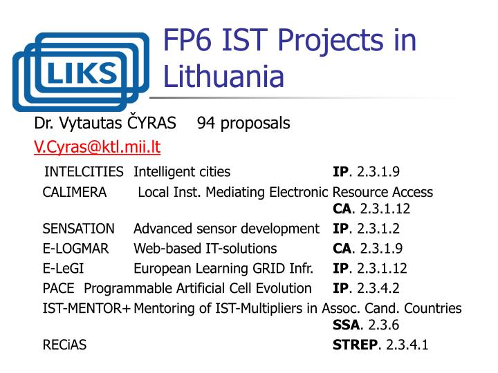 FP6 IST Projects in Lithuania