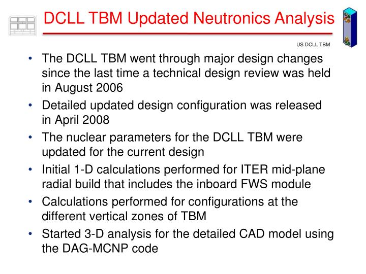 DCLL TBM Updated Neutronics Analysis