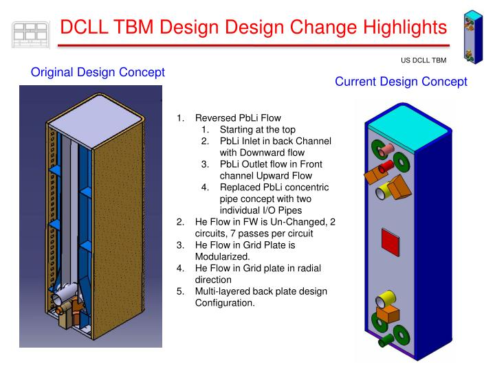 DCLL TBM Design Design Change Highlights
