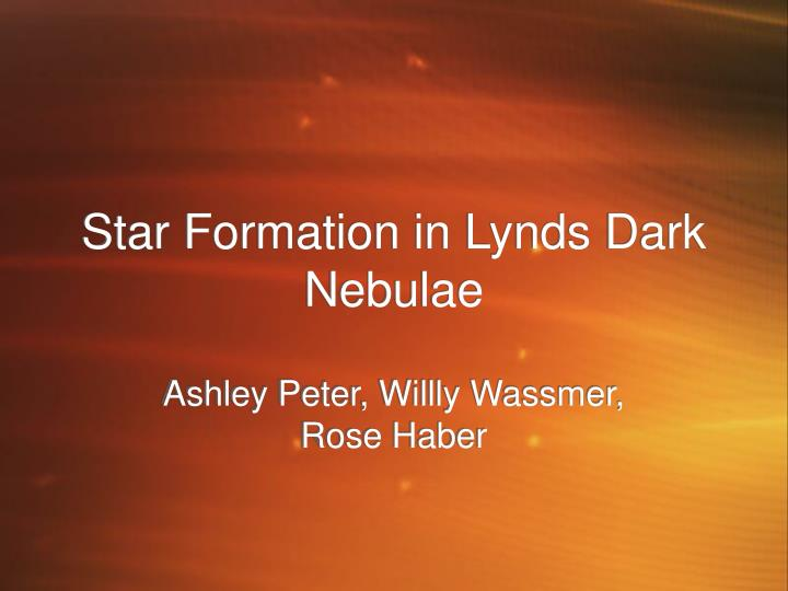 star formation in lynds dark nebulae
