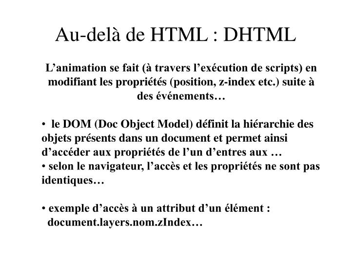 Au-delà de HTML : DHTML
