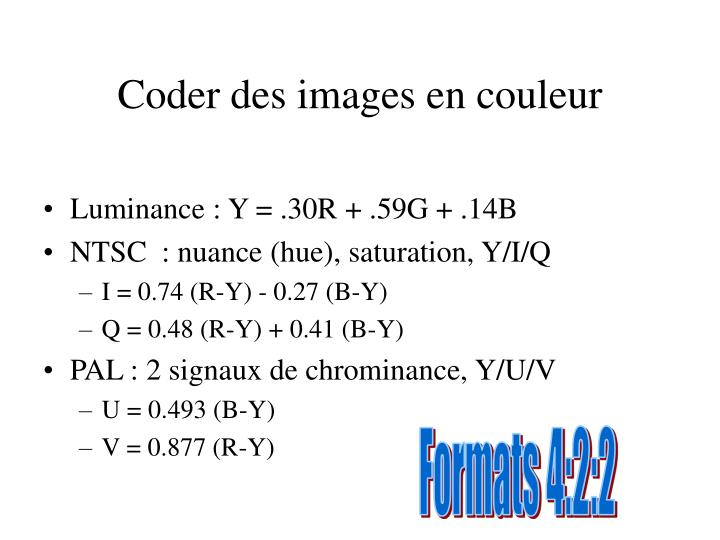 Coder des images en couleur
