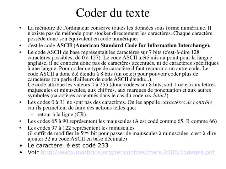 Coder du texte
