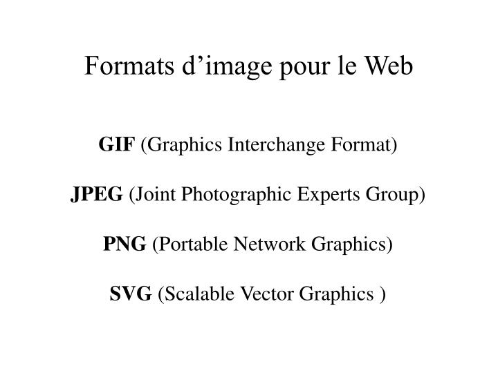 Formats d'image pour le Web