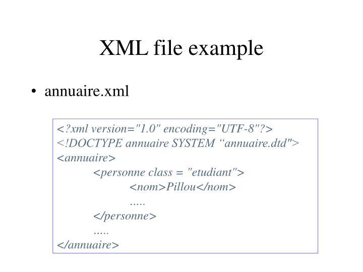 XML file example