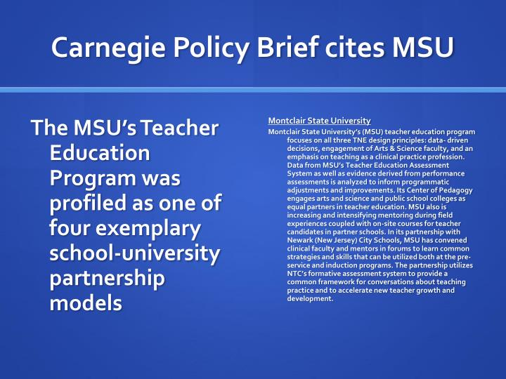 Carnegie Policy Brief cites MSU