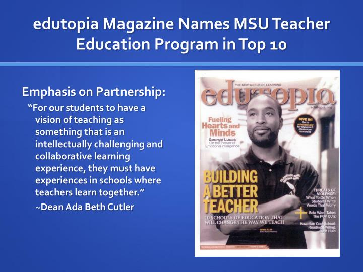 edutopia Magazine Names MSU Teacher Education Program in Top 10