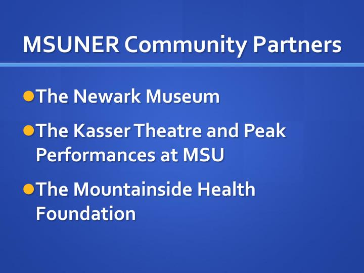 MSUNER Community Partners