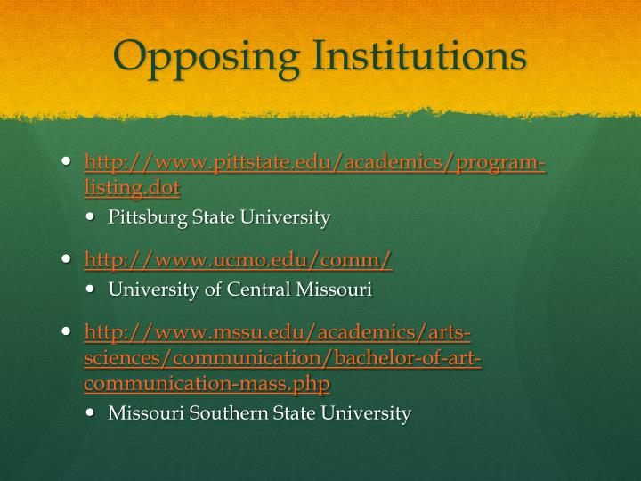 Opposing Institutions