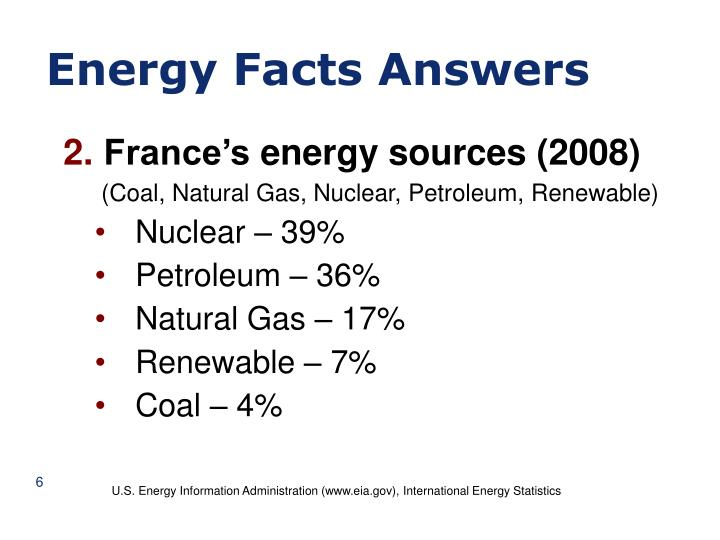 Energy Facts Answers