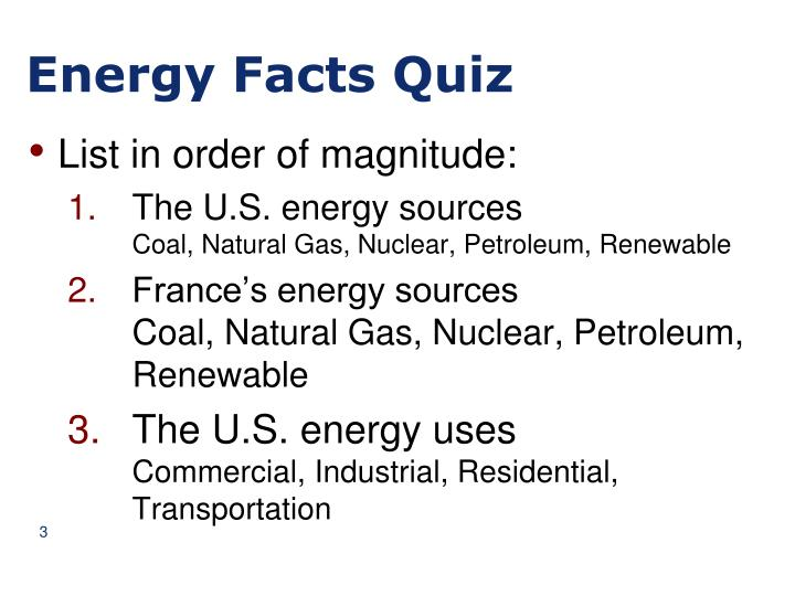 Energy Facts Quiz