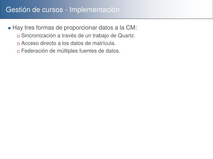 Gestión de cursos - Implementación