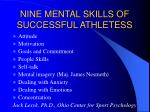 nine mental skills of successful athletess