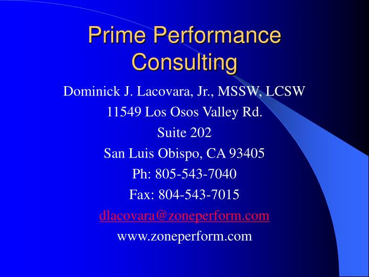 Prime performance consulting