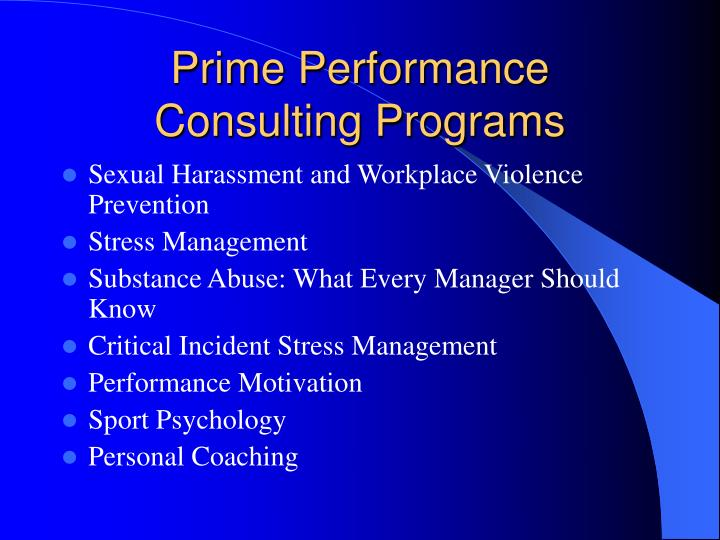 Prime performance consulting programs