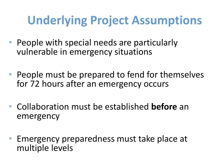 Underlying Project Assumptions