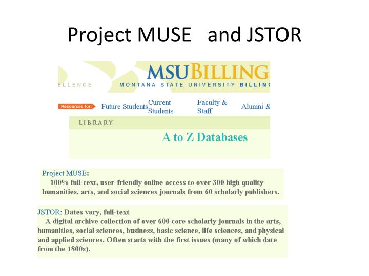 Project MUSE   and JSTOR
