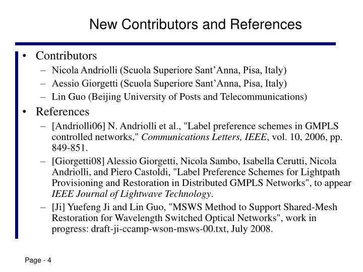 New Contributors and References