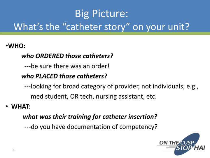 Big picture what s the catheter story on your unit