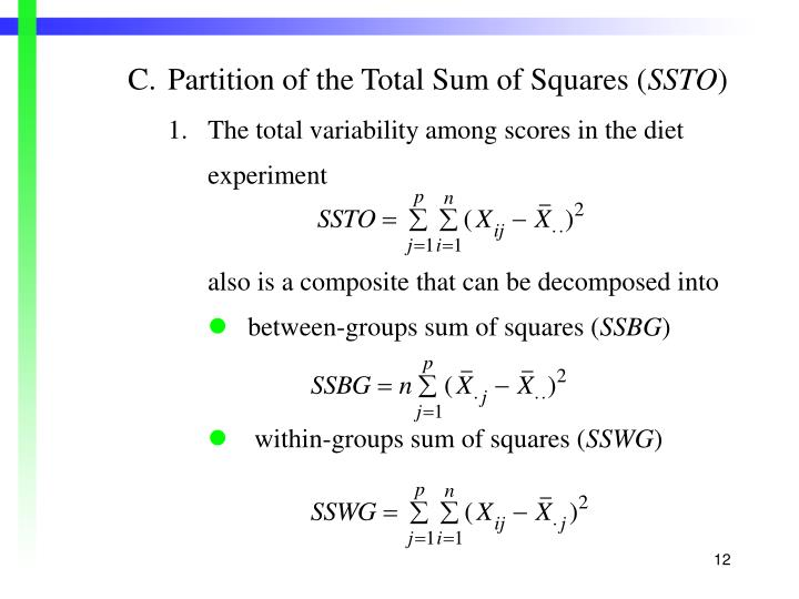 C.Partition of the Total Sum of Squares (