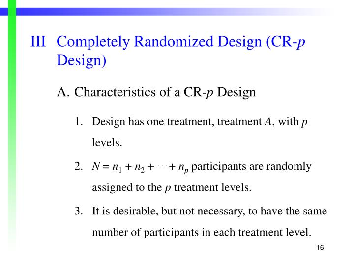 IIICompletely Randomized Design (CR-