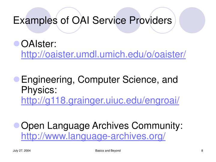Examples of OAI Service Providers