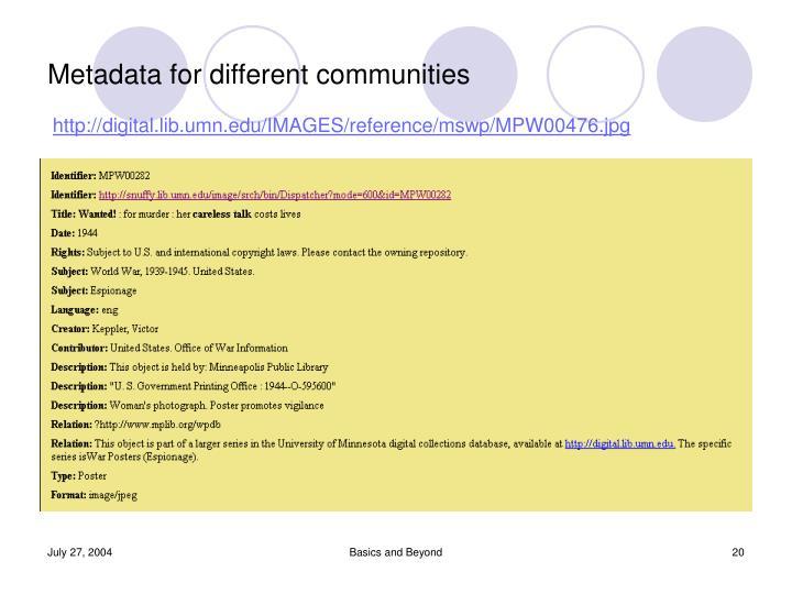 Metadata for different communities