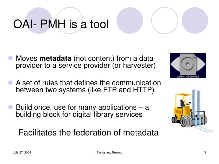 OAI- PMH is a tool