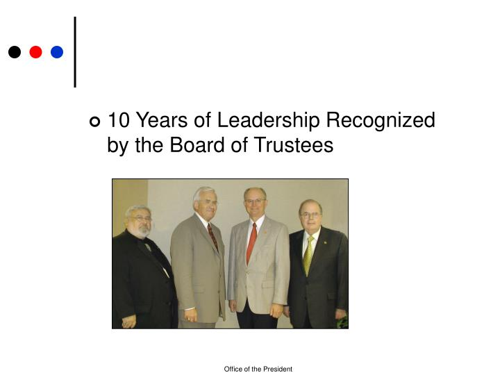 10 Years of Leadership Recognized by the Board of Trustees