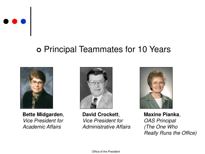 Principal Teammates for 10 Years