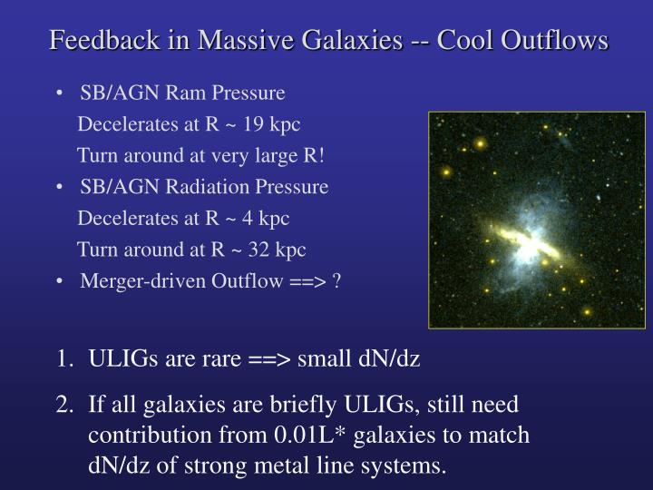Feedback in Massive Galaxies -- Cool Outflows