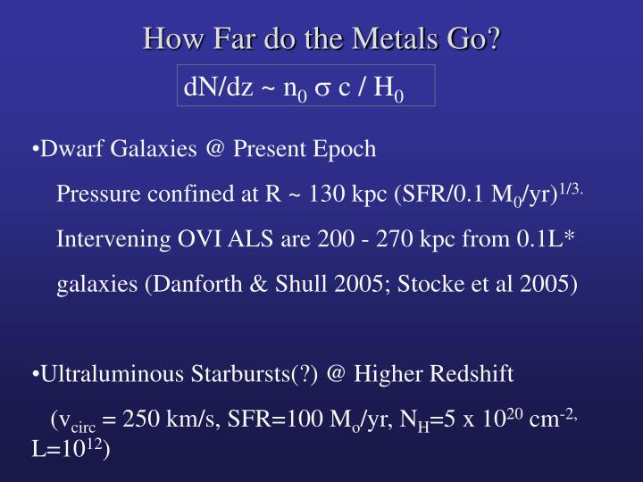 How Far do the Metals Go?