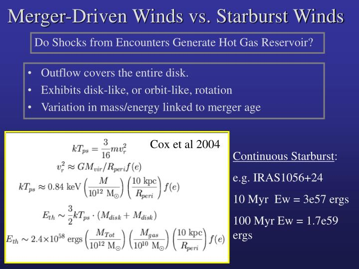 Merger-Driven Winds vs. Starburst Winds