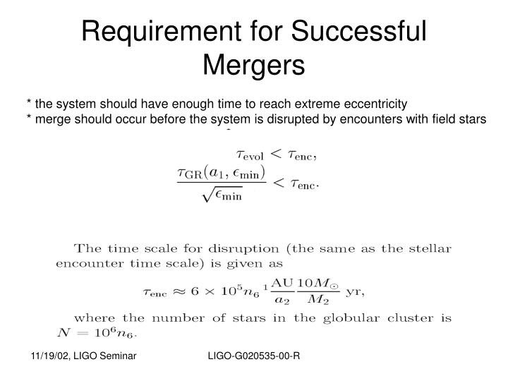Requirement for Successful Mergers
