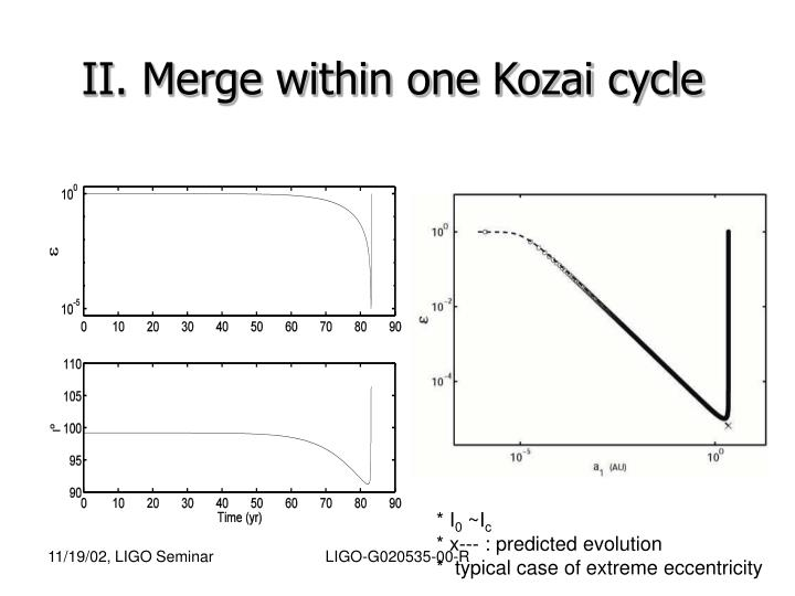 II. Merge within one Kozai cycle