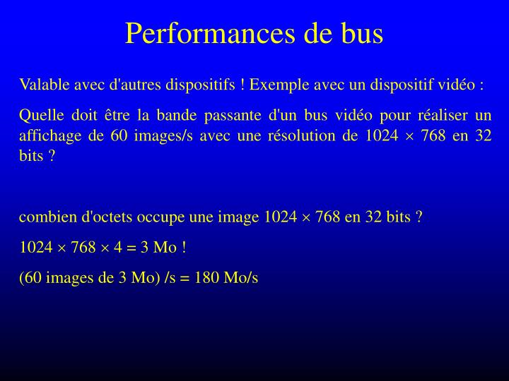 Performances de bus