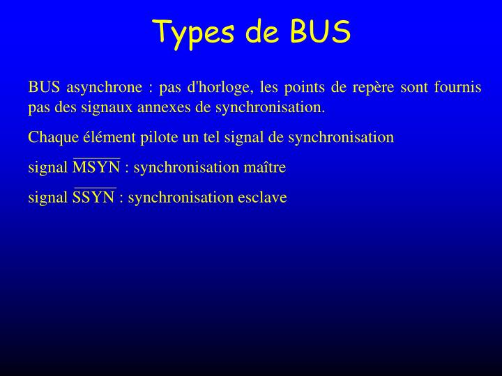 Types de BUS