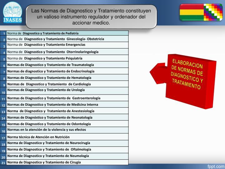 Las Normas de Diagnostico y Tratamiento constituyen un valioso instrumento regulador y ordenador del accionar medico.