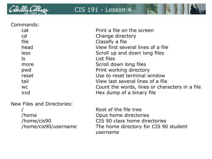 CIS 191 - Lesson 4
