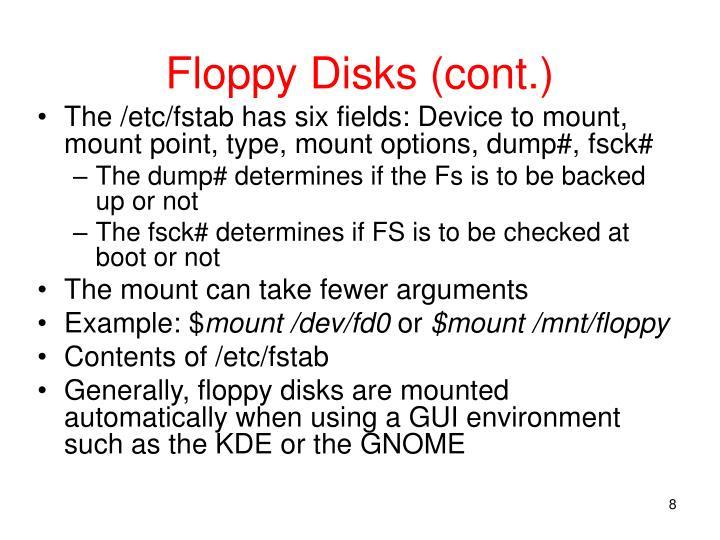 Floppy Disks (cont.)