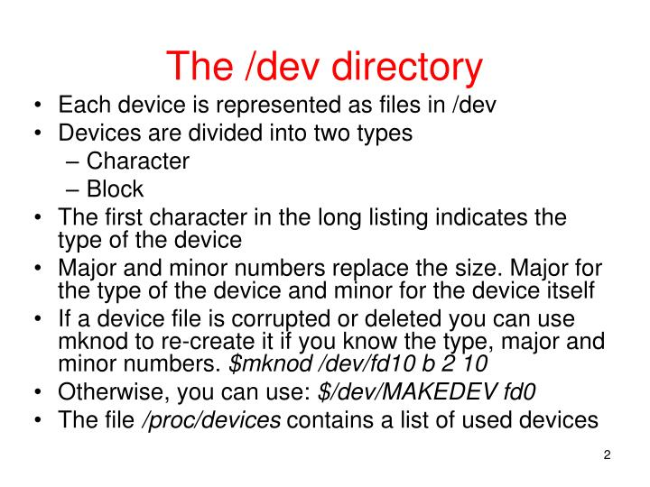 The dev directory