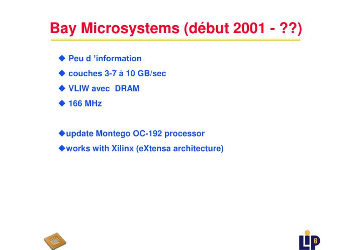 Bay Microsystems (début 2001 - ??)