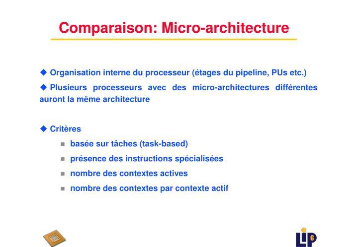 Comparaison: Micro-architecture