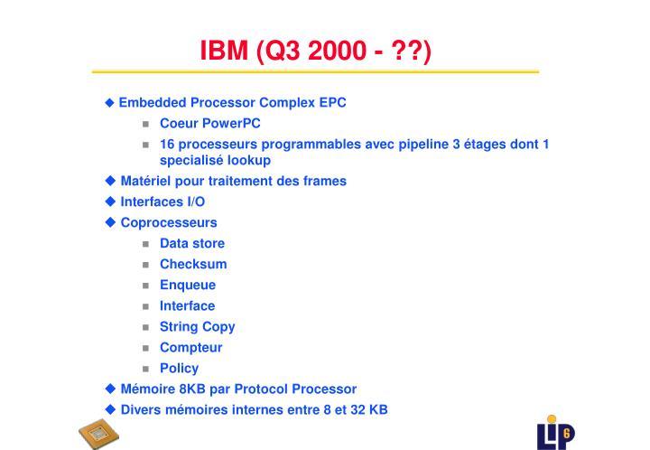 IBM (Q3 2000 - ??)